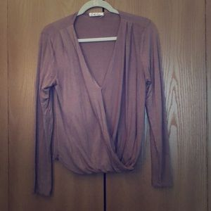 Wrap front jersey top from Anthropology
